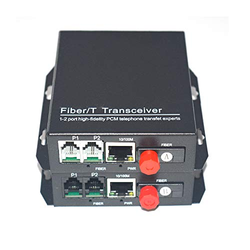(Primeda-telecom 2 Channels Telephone Extenders with 10/100Mbps Ethernet,Transmitter and Receiver Telephone Over Singlemode Single Fiber Optic up 20Km (with FC Fiber Interface))