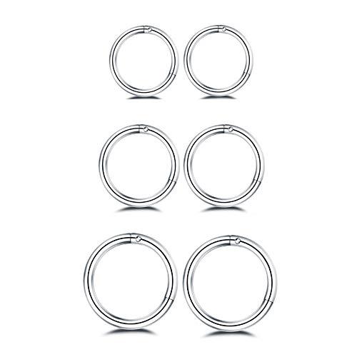 Hinged Earrings - 3Pairs Stainless Steel 16G Sleeper Earrings Septum Hinged Clicker Nose Lip Ring Helix Daith Cartilage Tragus Piercings Jewelry 6/8/10mm (Silver)