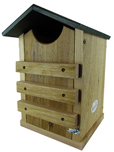 JCs Wildlife Screech Owl or Saw-Whet Owl House Cedar Nesting Box with Poly Lumber Roof Cedar Roof Birdhouse