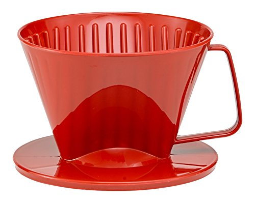 HIC Coffee Filter Cone, Red, Number 1-Size, Brews 1 to 2-Cup
