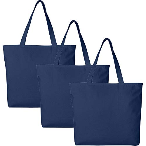 PACK OF 3 Large Heavy Canvas Plain Tote Bags, with Top and Inside Zipper Closure by BagzDepot (Navy)