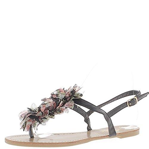 Flache schwarze Flip Flops mit zwischen Finger Dekorationsstoff Blume