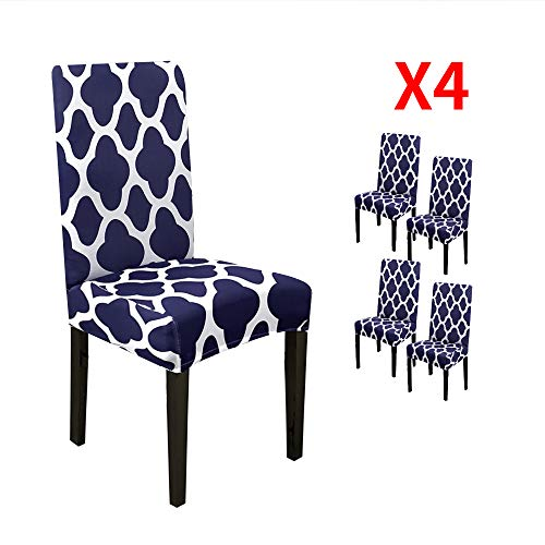 YIMEIS Comfort Stretch Dining Chair Slipcovers, Geometric Printed Dining Chair Protector, Removable Washable Short Dining Room Seat Covers for Dining Chairs, Kitchen, Office (Pack of 4, Navy)