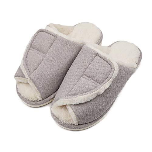 (Women's Extra Wide Diabetic Slippers, Swollen Foot Plantar Fasciitis Orthopedic Edema Flat Feet Bunions Slippers)