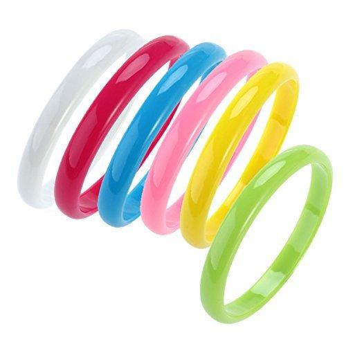 OULII Plastic Bangle Color Bracelets Candy Bracelet Party Favors (Random Colors) Pack 6pcs