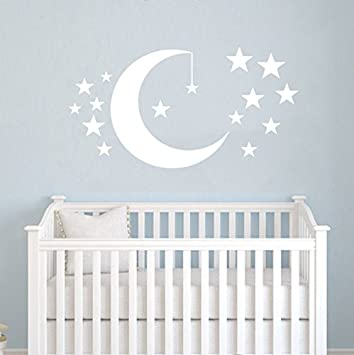 Moon And Stars Wall Decals Baby Room Nursery Clouds Wall Vinyl Decal  Stickers Playroom Kids Children