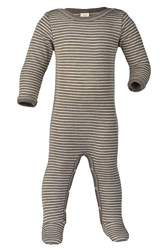 Baby Footed Romper Overall w/ Long Sleeves, Organic Merino Wool & Silk (86-92cm/12-24months, -