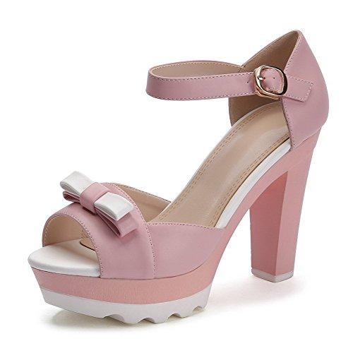 VogueZone009 Women's Buckle High Heels Blend Materials Assorted Color Peep Toe Sandals Pink BnTL29W7tu