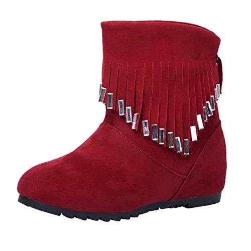 Tefamore Zapatos de Mujer de borla Elegante Clásico Botas de Casual de Anti-deslizante de Suave Moda Otoño Invierno Rojo