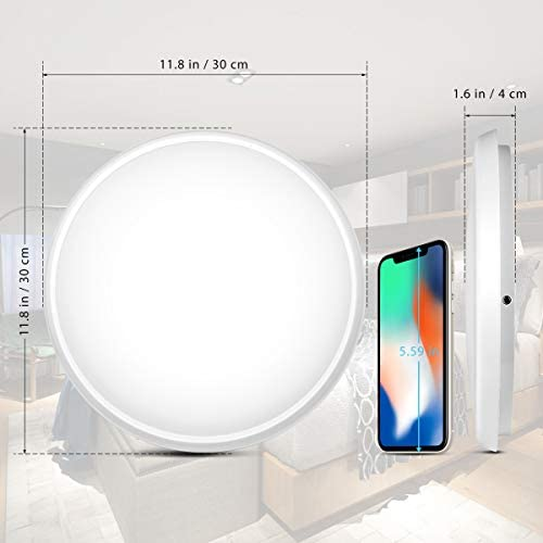 "YUNLIGHTS Smart Ceiling Light – Smart Ceiling Light Flush Mount Compatible with Alexa & Google Home, Smart Ceiling Light Flush Mount Wifi with App Control RGB Dimming IP65 Waterproof Timer, 24W & 12"" 41D ae0c6QL"
