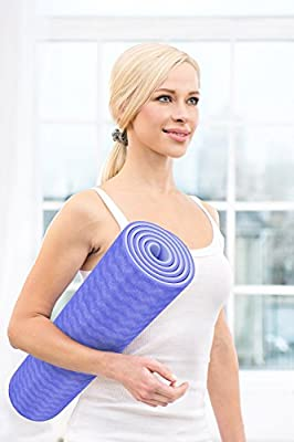 "MedilitePro Yoga Mat Extra Thick 1/4""(7mm)Double Layer Eco-friendly Extra Long 72"" with Strap Purple Colour Textured Best Yoga mat Slip-resistant Thick Yoga mat Dual Function Cushion High Elasticity"