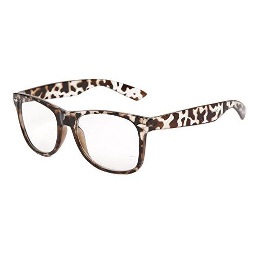 Vintage Unisex Non-prescription Wayfarer Glasses Leopard Frame Clear Lens Anti Blue - Prescription Wayfarers