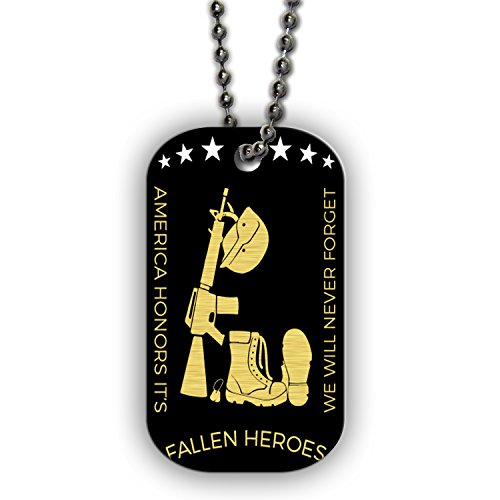BleuReign(TM) America Fallen Heroes Quote Single Sided Metal Military ID Dog Tag with Beaded Chain -