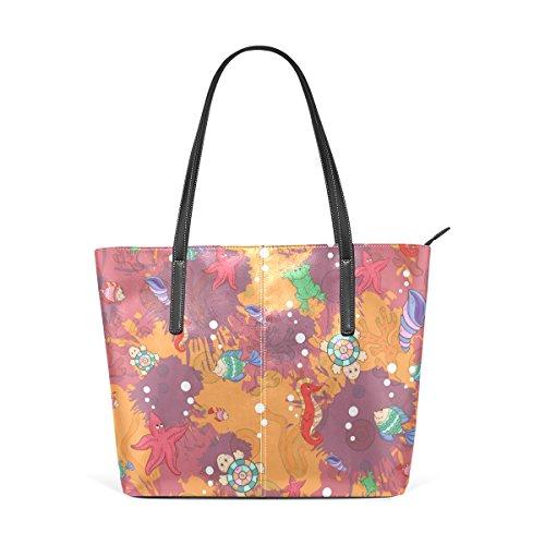 COOSUN Zusammenfassung Marine Life PU Leder Schultertasche Handtasche und Handtaschen Tasche für Frauen