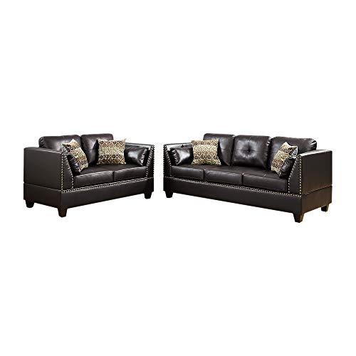 Benzara BM168733 Bonded Leather Sofa Set, Brown