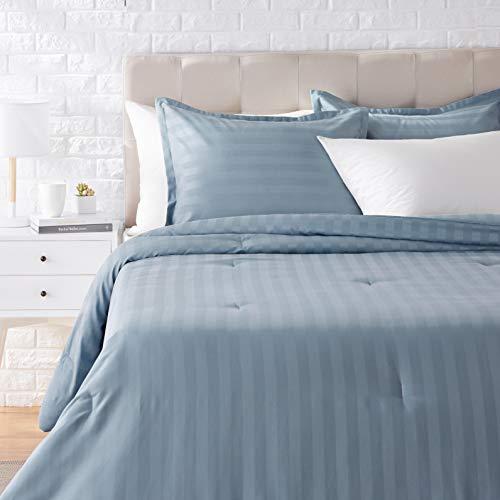 AmazonBasics Woven Damask Stripe Comforter Set - Premium, Soft, Easy-Wash Microfiber - King, Spa Blue