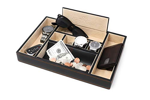 Dapper Effects Mens Valet Tray - Organizer for Desk, Dresser Top Or Nightstand (Black) from Dapper Effects