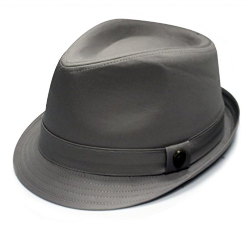 City Hunter Pmt110 Cotton Solid Trilby Fedora-Grey-L/xl Size