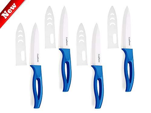 Ceramic knife, Cerahome Ceramic kitchen Knife Set with Sheath 2019 Upgraded Kitchen Knives Sharp Fruit Knife (blue)