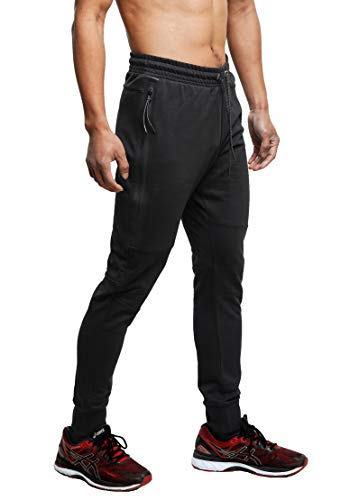- FORBIDEFENSE Men's Jogger Pants Sweatpants Casual Athletic Trousers Cotton Terry for Gym Running Black Medium