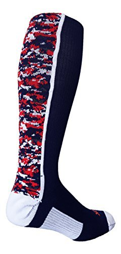 TCK Sports Digital Camo Over The Calf Socks (Navy/White/Red, Large) (Navy Rugby Womens)