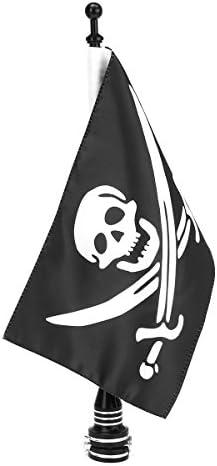 NICOLIE Moto Côté Arrière Jolly Roger Flag Pole Mount Pour Porte-Bagages Harley Black Silver - Sombre sombre