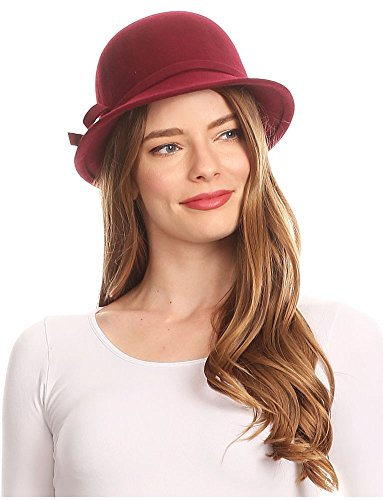 ns Vintage Style Wool Cloche Bucket Winter Hat With Ribbon Bow Accent - Burgandy/One Size (Cloche Style Red Wool Hat)