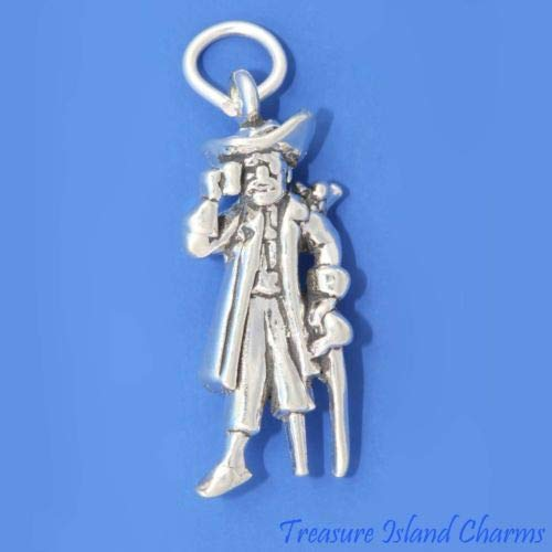 Long John Silver Pirate with Peg Leg Parrot 3D 925 Solid Sterling Silver Charm Crafting Key Chain Bracelet Necklace Jewelry Accessories Pendants