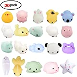 20Pcs Squishy Toy, LEEHUR Party Favor Mini Cute Squeeze Funny Toy Soft Stress and Anxiety Relief Toys Kawaii Phone Case DIY Decoration Rabbit Duckling Cat Pig Tiger for Kids/Adults Random Color