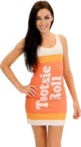 Tootsie Roll Fruit Rolls Candy Orange Costume Tank Dress (Juniors X-Large) -