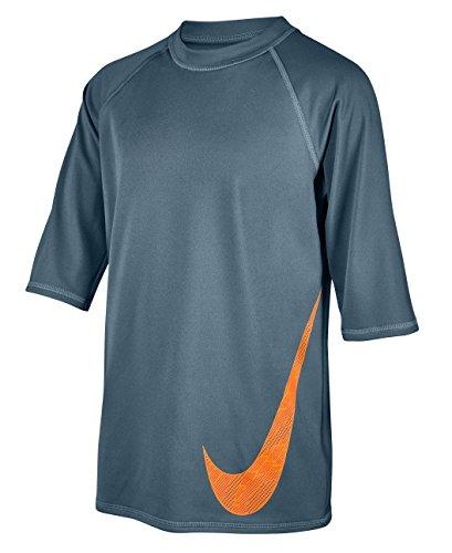 Nike Boy's Heat Swoosh Short Sleeve Hydro Rash Guard XL BlueGraphite (Boys Nike Swim Shirts)