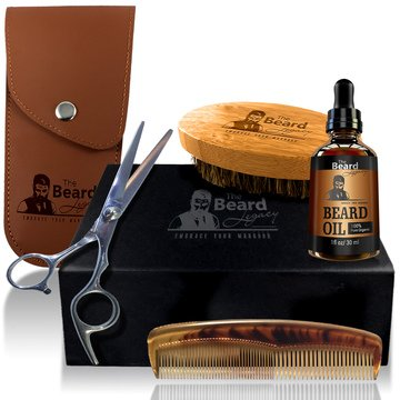 BEARD CARE GROOMING TRIMMER GROWTH KIT Gift Box Best Beard Oil Unscented Organic Argan & Jojoba Oil Mustache Scissors Comb for men Boar Bristle Brush Helps Itchiness Dandruff Beard Scissors for men.