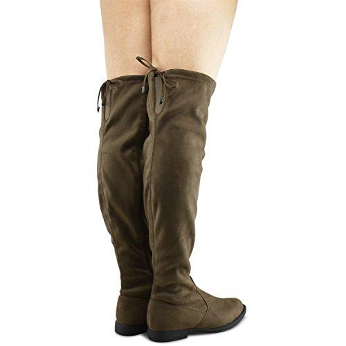 Premier Standard Damen Kniehohe Stretch Boot - Trendy High Heel Schuh - Sexy Overknee Pullon Boot - Komfortable Easy Heel Premier Taupe Su