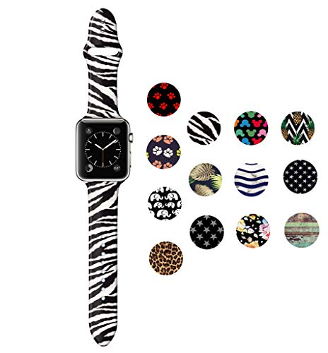 Dsigo Replacement Band for Apple Watch 38mm 40mm Series 4 Series 3 Series 2 Series 1 M/L, Strap Bands for iwatch, Silicone Sport Style Wristband, Personalized Design Zebra Pattern