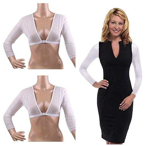 ❤️ Sunbona New Plus Size Seamless Arm Shaper Short Cropped Navel Mesh Cardigan Hot (M, White)
