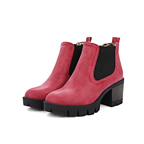 BalaMasa Ladies Elastic Band Platform Chunky Heels Imitated Leather Boots Red q4csVOD6
