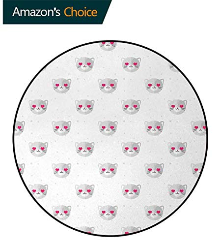 DESPKON-HOME Emoji Modern Vintage Rugs,Cat Faces with Pink Heart Shaped Eyes Romantic Animal Kitty Mascot in Love Area Rug - Perfect for Any Place Round-63 Inch,Pale Grey Pink White
