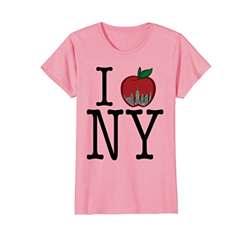 Pink York T-shirt New Womens (Womens Cool I Heart Love Apple New York (NY) T-shirt Small Pink)