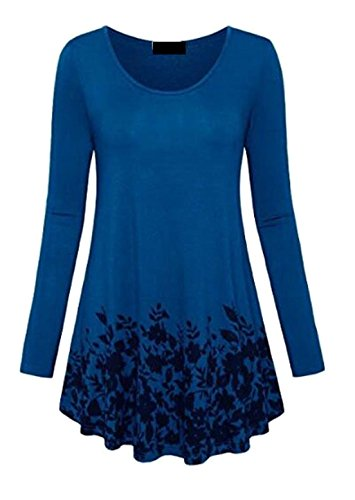 Women Discount (YUNY Women's Soft Long Sleeve Crew Neck Printed Tunic Top T-Shirt Blue US 2XL)