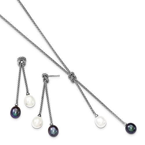 ICE CARATS 925 Sterling Silver Freshwater Cultured Pearl Knot 18 In. Neck Post Stud Earrings Set Drop Dangle Necklace Fine Jewelry Gift Set For Women Heart by ICE CARATS (Image #4)