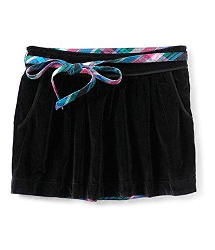 Aeropostale Womens Velour Removable Belt Mini Skirt, Black, Large