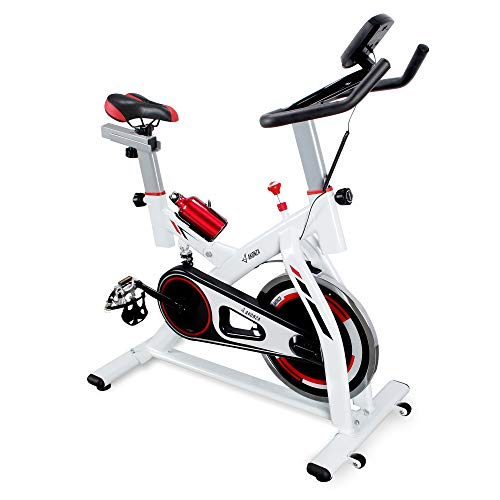 AKONZA Exercise Bike Indoor Stationary Shock Absorption Bicycle Home Fitness Trainer Water Bottle with LED Display, White