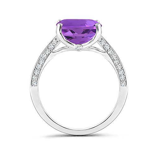 Angara Dome Shank Cushion Amethyst Cocktail Ring in 14k Yellow Gold VARiqM0e1