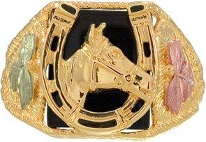Authentic! 10k Yellow-gold Black Hills Gold Men's onyx Horseshoe (Onyx Horse)
