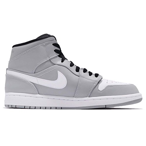 NIKE Jordan Mens Air 1 Mid, Wolf Grey/White-Black Wolf Grey/White-black