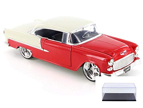 - Diecast Car & Display Case Package - 1955 Chevy Bel Air Hard Top, Red/White Top - Jada 98939D - 1/24 Scale Diecast Model Toy Car w/Display Case