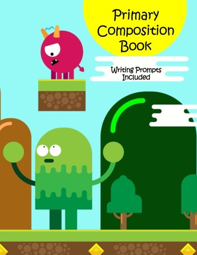 Primary Composition Book: Story Paper Notebook with Writing Prompts for K-2 (Space on Top for Drawing & Dotted Midlines Below, 8.5x11 inches, 60 pages, Monster Video Game ()