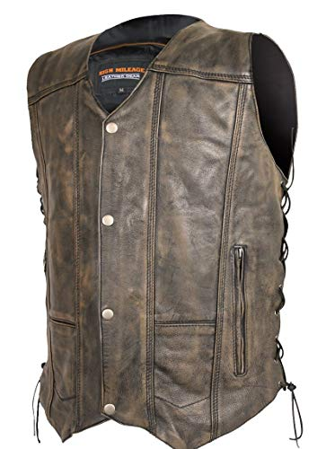 Mens Motorcycle 10 Pocket Distressed Brn Premium Leather patch holder Club Vest (XL)