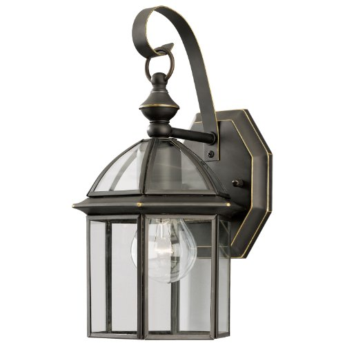 WESTINGHOUSE LIGHTING 67873 1 Light, Outdoor Wall Lantern, Weathered Bronze Finish On Solid Brass With Clear Glass Panels