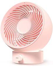 Warrita Small Table Fan for Office, 3 Speeds Strong Wind Portable USB Quiet Fan, Rechargeable Desk Fan Ventilador Portatil